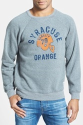 Original Retro Brand 'Syracuse Orange Football' Slim Fit Raglan Crewneck Sweatshirt Gray