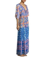 Hemant And Nandita Mixed Media Print Gown Vintage Pink