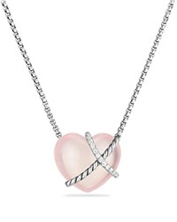 David Yurman Le Petit Coeur Sculpted Heart Chain Necklace With Milky Rose Quartz And Diamonds Pink Silver