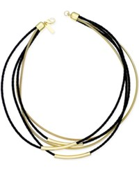 Inc International Concepts Gold Tone Faux Leather Multi Strand Collar Necklace Only At Macy's
