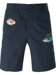 Pt01 Fish Embroidery Shorts Blue