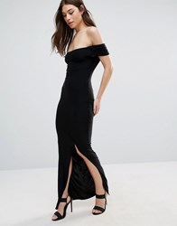Club L Bardot Split Slinky Maxi Dress Black
