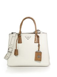 Prada Galleria Medium Leather And Crocodile Satchel White