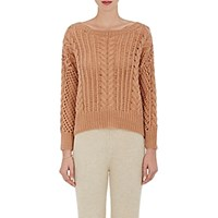 Ryan Roche Women's Cashmere Cable Knit Sweater Pink
