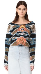 Baja East Cropped Cashmere Sweater Tiger