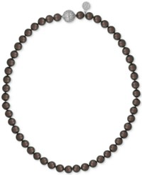 Majorica Sterling Silver Dark Imitation Pearl Collar Necklace Brown