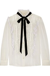 Marc Jacobs Pussy Bow Ruffled Lace Trimmed Cotton Voile Blouse Ivory