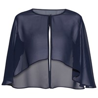 Gina Bacconi Chiffon Cape With Open Back Detail Spring Navy