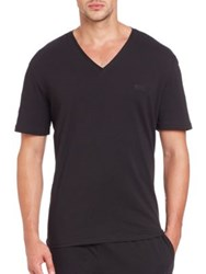 Hugo Boss Stretch Cotton V Neck Tee Black Medium Grey