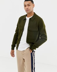 Ted Baker Zip Through Merino Blend Cardigan With Patch Pockets Green