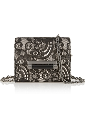 Diane Von Furstenberg 440 Micro Mini Leather Lace And Crepe Shoulder Bag