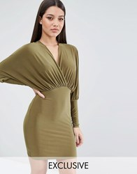 Club L Longsleeved Mini Dress With Plunge Front Olive Green