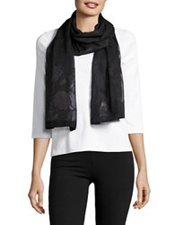 Collection 18 Floral Jacquard Wrap Scarf Black
