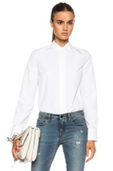 Victoria Beckham Denim Sports Button Down Cotton Top In White