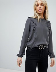 First And I Ruffle Shoulder Blouse Grey