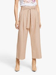 Marella Finanza High Waisted Wide Leg Cropped Trousers Beige