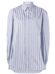 Balenciaga Oversized Striped Button Down Shirt Blue