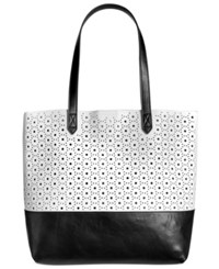 Giani Bernini Perforated Commuter Tote Only At Macy's White Black