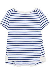 Sacai Dixie Grosgrain Trimmed Striped Cotton Jersey T Shirt Blue