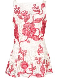 Oscar De La Renta Embroidered Lace Tank