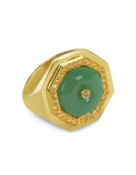 Sho London Aventurine Clementina Ring Green
