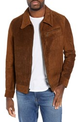 Schott Nyc Unlined Rough Out Oiled Cowhide Trucker Jacket Espresso