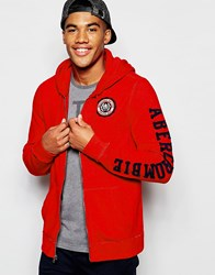 Abercrombie And Fitch Hoodie Core Zip Through In Muscle Slim Fit In Red Red