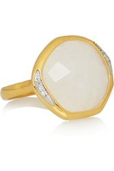 Monica Vinader Riva Gold Plated Diamond And Moonstone Ring