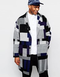 Asos Drop Shoulder Overcoat In Geometric Pattern Grey
