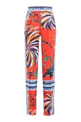 Emilio Pucci Printed Silk Wide Leg Pants Multicolor