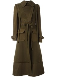 Alexander Mcqueen Box Pleat Military Coat Green