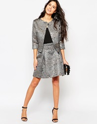 Traffic People Peacock Jacquard Skater Skirt Black