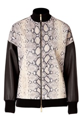 Emanuel Ungaro Python Printed Leather Jacket Black