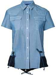 Sacai Pleated Chambray Shirt Women Cotton 2 Blue