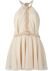 Jay Ahr Rope Detail Mini Dress Nude And Neutrals