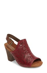 Rockport Cobb Hill Women's Tropez Block Heel Sandal Red Leather