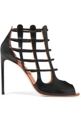 Francesco Russo Cutout Leather Sandals Black