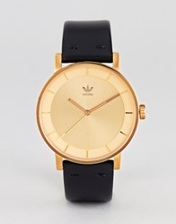 Adidas Z08 District Leather Watch In Black Gold