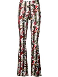 Black Coral Butterfly Print Flared Trousers