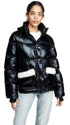 Jocelyn Patent Faux Sherpa Puffer Jacket Black