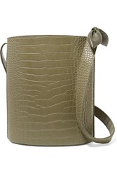 Nanushka Kat Croc Effect Vegan Leather Bucket Bag Army Green