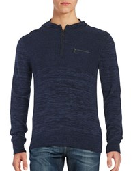 Calvin Klein Ribbed Panel Hooded Sweater Blue