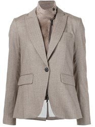 Veronica Beard Goatskin Collared Blazer Brown
