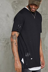 Forever 21 Distressed Raw Cut Longline Tee Black