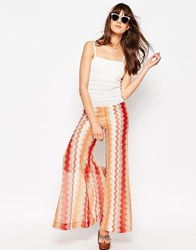 Asos Jumpsuit With Wide Leg In Chevron Pattern Multi