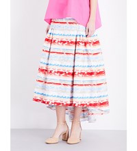 Peter Pilotto A Line Cotton Blend Jacquard Skirt Pink