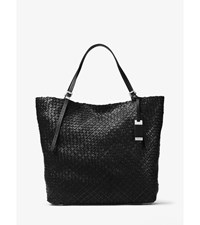 Hutton Large Woven Leather Tote Black