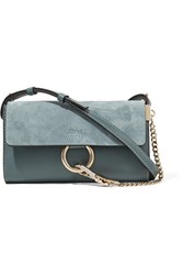 Chloe Faye Mini Leather And Suede Shoulder Bag Petrol