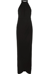 Karl Lagerfeld Iva Faux Leather Trimmed Jersey Crepe Maxi Dress