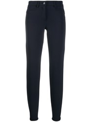 Cambio High Waist Cropped Trousers Blue